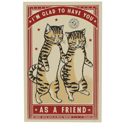 "Ravi Zupa Serigraph of Two Cats ""A Friend,"" 2020"