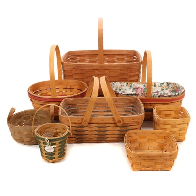 Eight Longaberger Baskets Including 2007 Peppermint Stripe