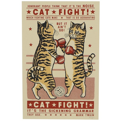 "Ravi Zupa Serigraph of Two Cats Boxing ""Sickening Grammar,"" 2020"