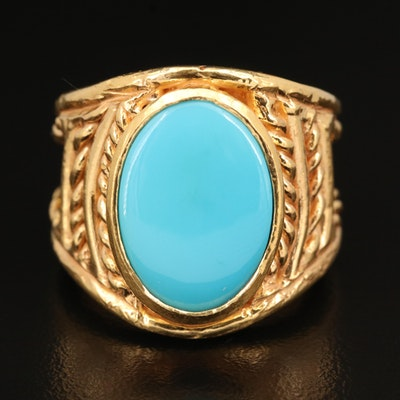 18K Turquoise Ring with Rope Accents