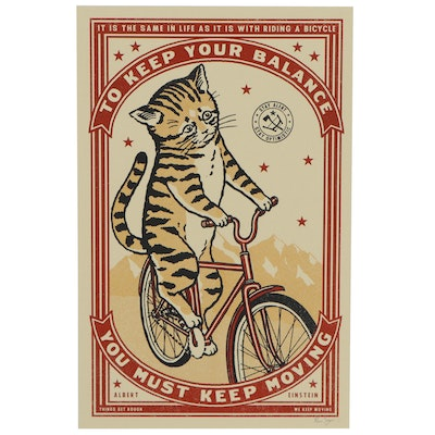 "Ravi Zupa Serigraph of Cat Riding a Bicycle ""Keep Moving,"" 2020"
