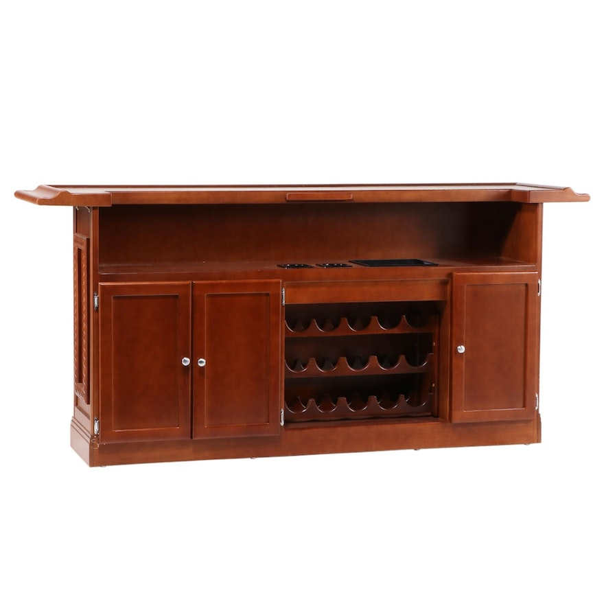 Contemporary Walnut-Stained Bar with Built-In Wine Rack