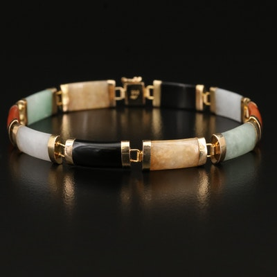 "10K Black Onyx and Jadeite ""Good Fortune"" Bracelet"