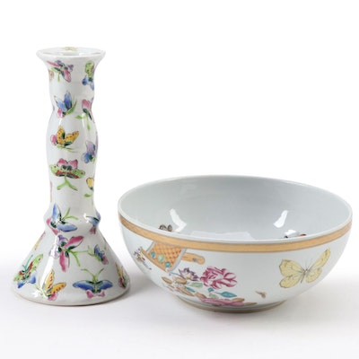 Vista Alegre for Mottahedeh Porcelain Serving Bowl and Other Candlestick