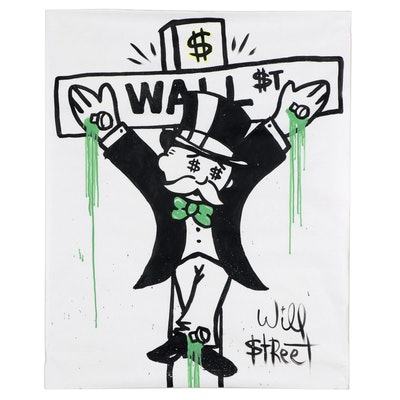 Will $treet Pop Art Acrylic Painting of Crucified Mr. Monopoly, 2018