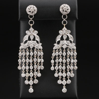 18K 6.50 CTW Diamond Stud Earrings with Chandelier Enhancers