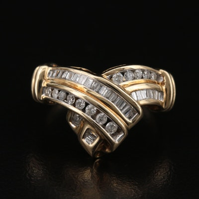 10K Diamond Chevron Ring