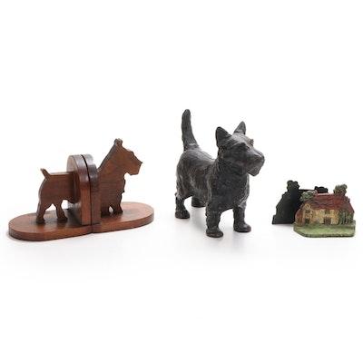 Scottish Terrior Cast Iron Figurine and Bookends
