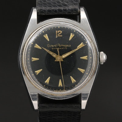 "Vintage Girard-Perregaux ""Gyromatic"" Stainless Steel Automatic Wristwatch"