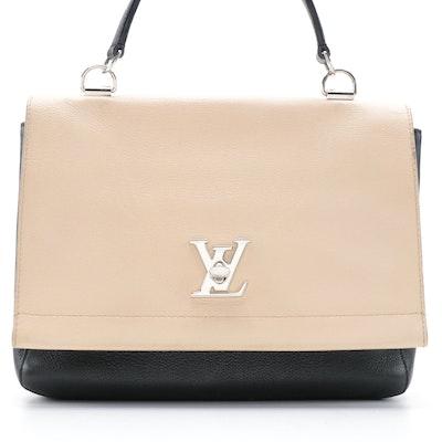 Louis Vuitton Lockme II Handbag in Vanille Noir Grained Calfskin Leather
