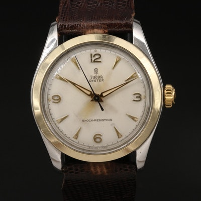 """Vintage Tudor Oyster """"Small Rose' 14K Gold and Stainless Steel Wristwatch"""