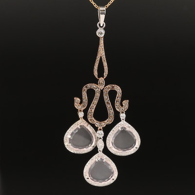 18K Rock Crystal Quartz and 2.51 CTW Diamond Necklace