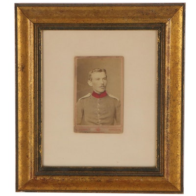 Hand-Colored Sepia-Toned Silver Print Photo Card Portrait of C. Eisenhut