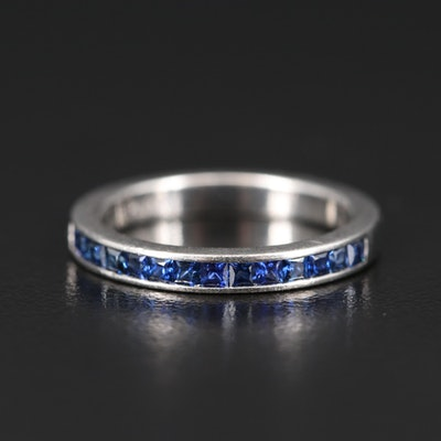 Platinum Sapphire Channel Set Band