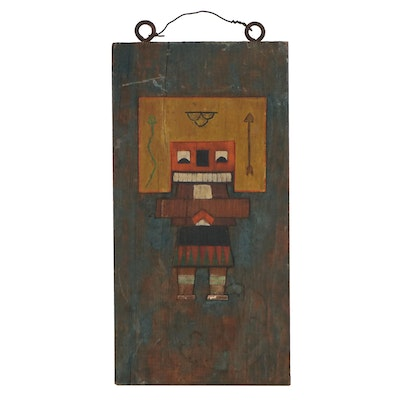 Acrylic Painting of Kachina Doll, Mid-20th Century