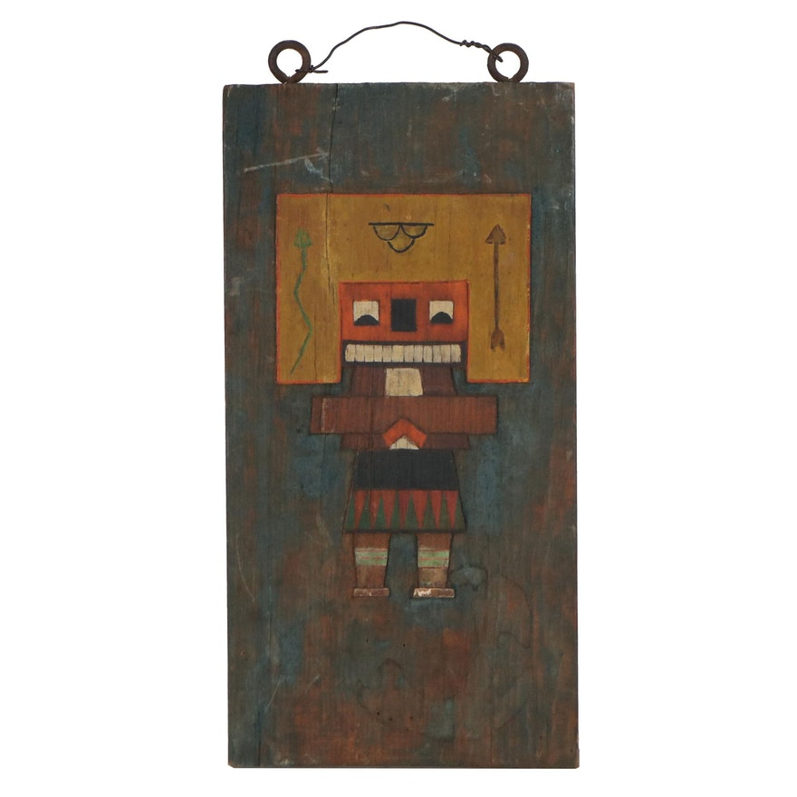 Acrylic Painting of Kachina Doll, Mid-20th Century