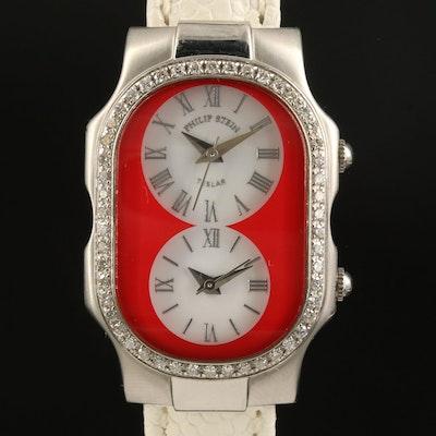 Philip Stein Teslar Dual Time Stainless Steel Diamond Wristwatch