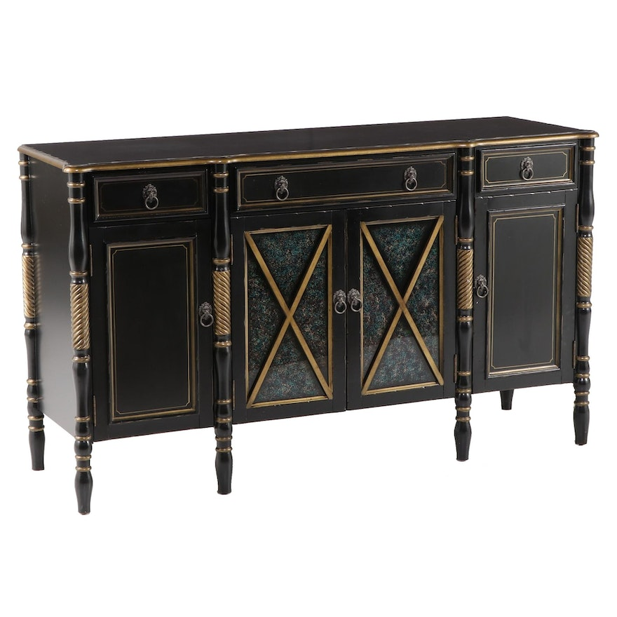French Empire Style Parcel Gilt and Ebonized Wood Buffet Server, Late 20th C.