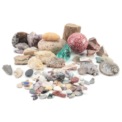 Raw and Polished Gemtones, Agatized Cephalopods, Knapped Stones and More