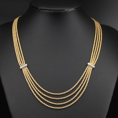 Vintage Tiffany & Co. 18K Multi-Strand Necklace with Diamond Stations