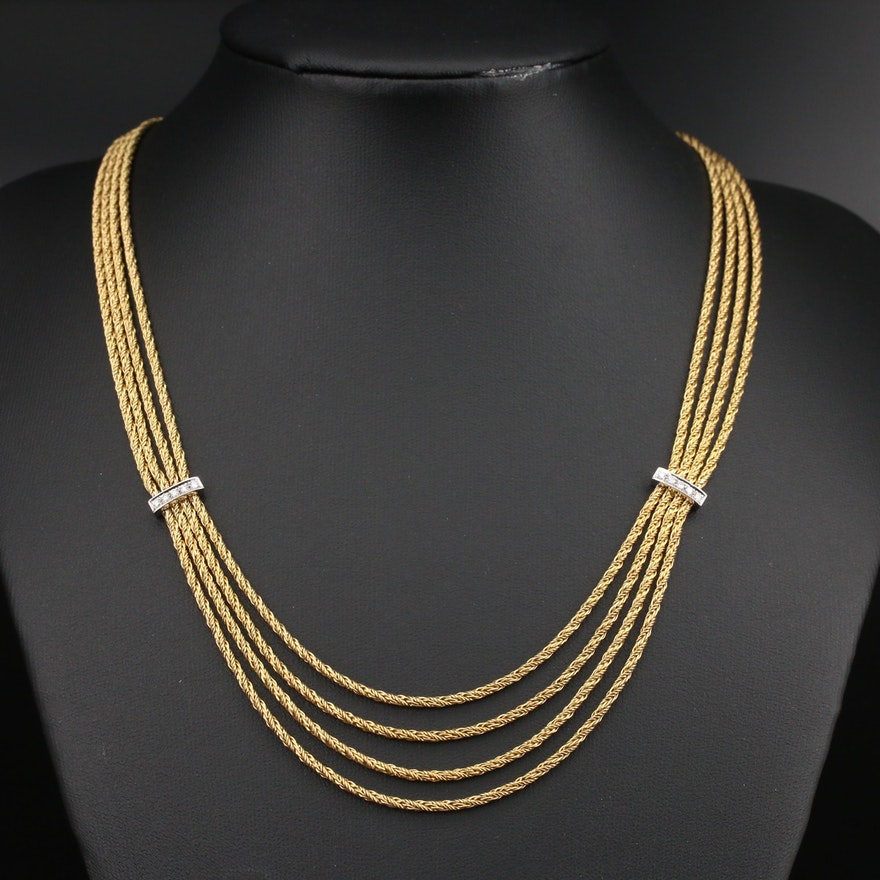 Vintage Tiffany & Co. 18K Multi-Strand Necklace with Diamond Stations