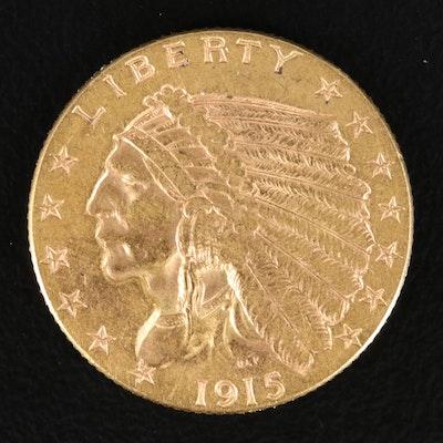 1915 Indian Head $2.50 Gold Quarter Eagle