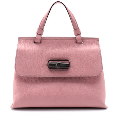 Gucci Small Bamboo Daily Two-Way Bag in Pink Pebble Grain Leather