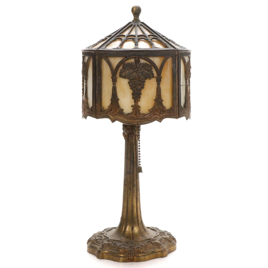 Bradley & Hubbard Gilt Metal  and Caramel Slag Glass Accent Lamp
