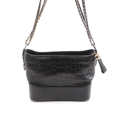 Chanel Gabrielle Medium Hobo Bag in Black Croc-Embossed and Smooth Leather