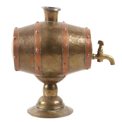 Russian Hammered Brass and Copper Barrel Shaped Liquor Dispenser,  Early 20th C.