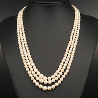 Vintage Pearl Triple-Strand Necklace with Sterling Clasp