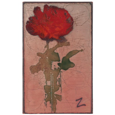 "Houston Llew Glass on Copper Spiritile ""The Rose,"" Late 20th Century"