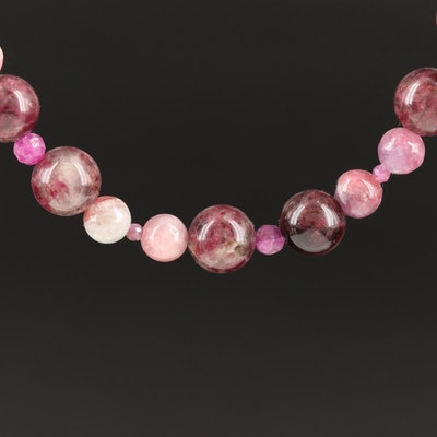 Tourmaline, Corundum, and Quartzite Beaded Necklace with Sterling Clasp