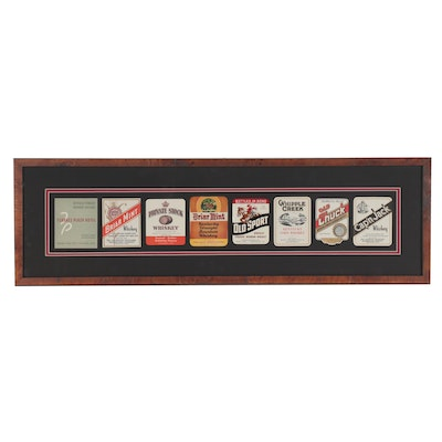 Framed Whiskey and Bourbon Labels, Mid-20th Century