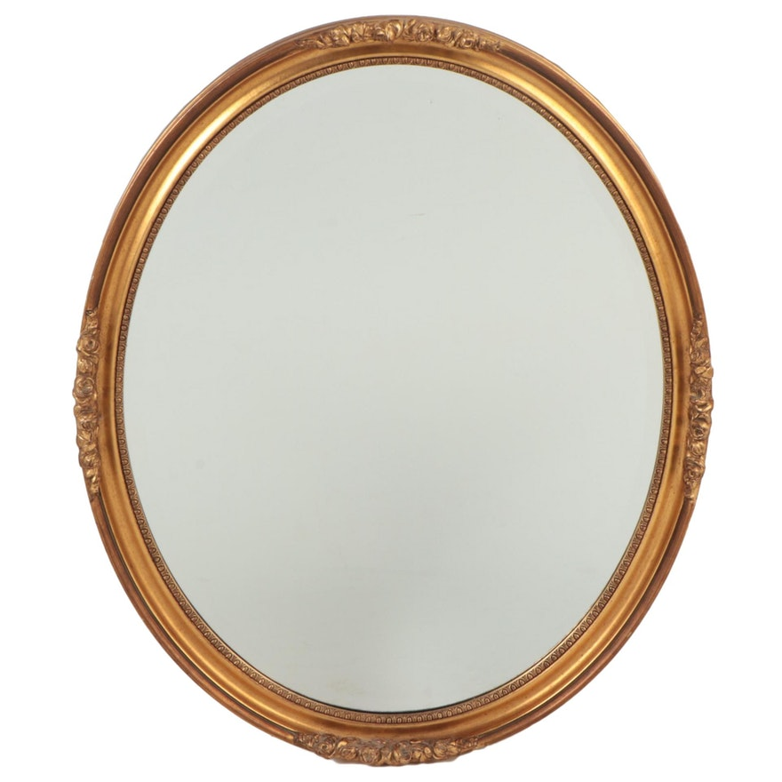Giltwood and Composition Oval Wall Mirror, Mid to Late 20th Century