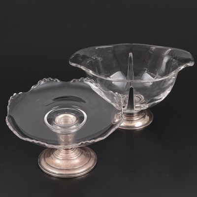 Frank M. Whiting Glass and Sterling Compote with Divided Serving Dish
