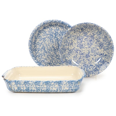 Gerald E. Henn Blue Roseville Spongeware Dishes, Late 20th Century