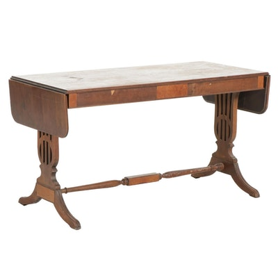 Classical Style Lyre Trestle Base Drop-Leaf Library Table, 1940s