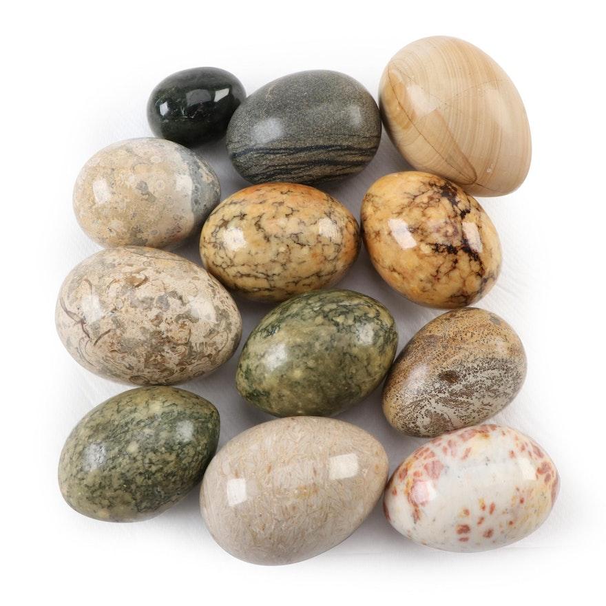 Polished Calcite, Jasper and Alabaster Egg Figurines