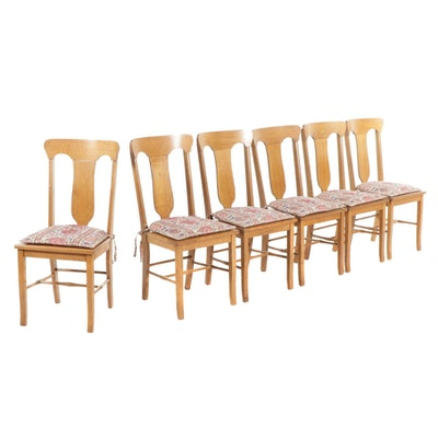 Six Cochran Chair Co. Oak and Leather Seat Dining Chairs, circa 1900