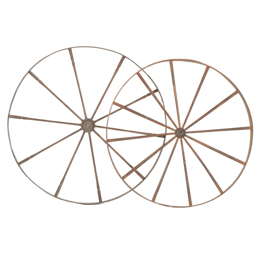 Handcrafted Wooden Wagon Wheels, 19th Century