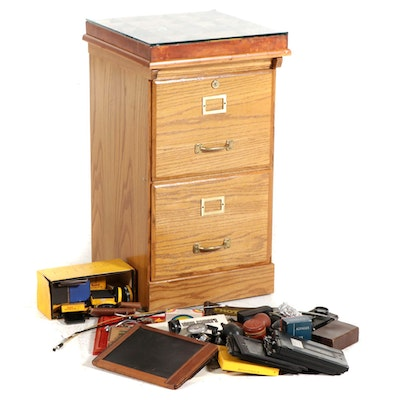 Filing Cabinet with Glass Top Display of Kodak and Other Photography Accessories