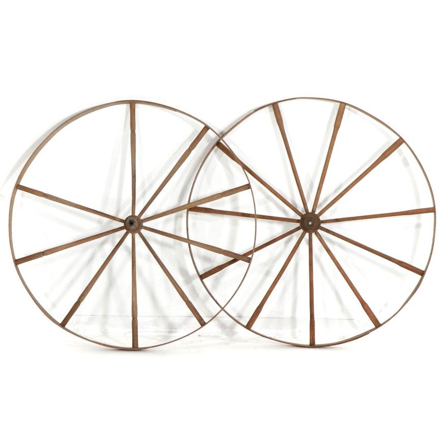 Primitive Wooden Wagon Wheels