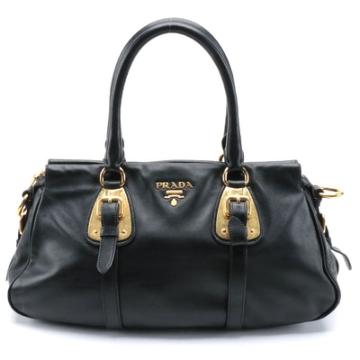 Prada Black leather Belted Convertible Satchel