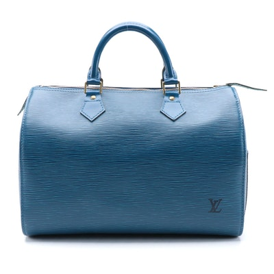 Louis Vuitton Speedy 30 Bag in Toledo Blue Epi and Smooth Leather