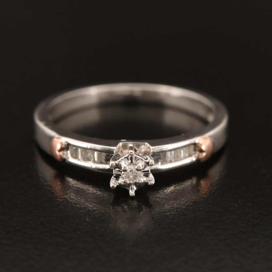 10K Diamond Ring with Rose Gold Heart Accents