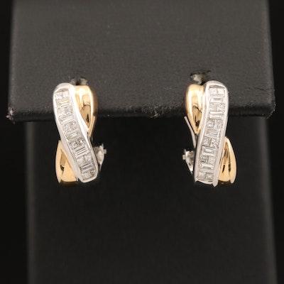 14K Two Tone Diamond Earrings