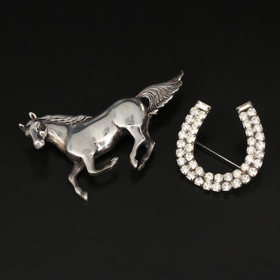 Vintage Sterling Horse Brooch and Rhinestone Horseshoe Brooch