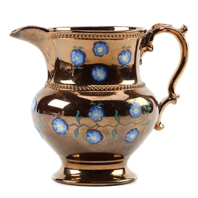 English Copper Luster with Hand-Painted Flowers, Mid 19th Century