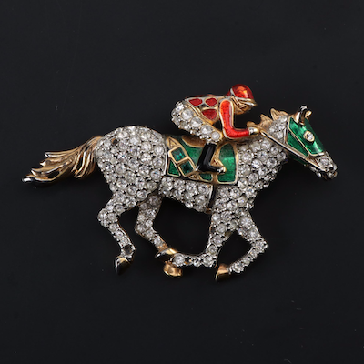 Rhinestone and Enamel Jockey and Racehorse Brooch